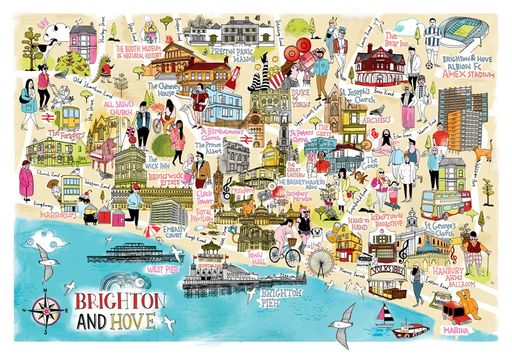 Brighton And Hove Illustrated Map by Tilly Running for Crayons
