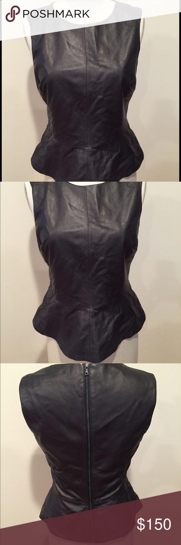 Trina Turk Leather peplum top Sz 8 Trina Turk  Black Leather sleeveless peplum top Sz 8 Trina Turk Tops Tank Tops