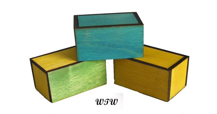 Green Blue Yellow Matchboxes Designed by B. Vinney Made by W.Ware