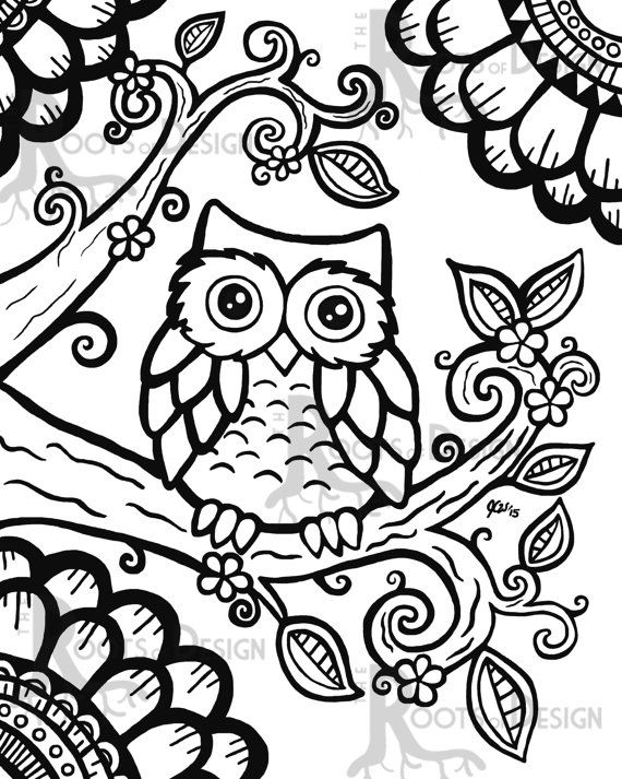 instant download coloring page cute owl zentangle inspired doodle art printable