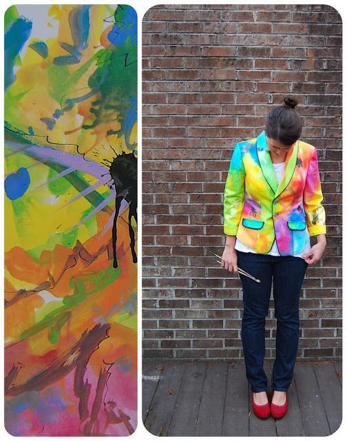 liza jane sews: I Ain't Gonna Paint No More- hand painted and sewn jacket with Dye-Na-Flow paints