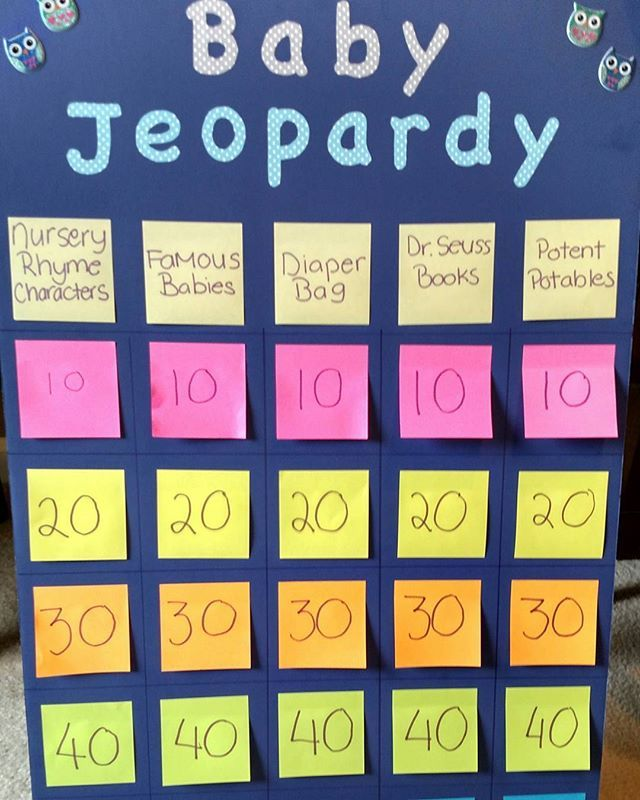 nursery rhyme baby shower jeopardy game