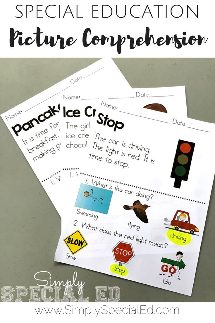 Leveled picture comprehension simple worksheets for special education