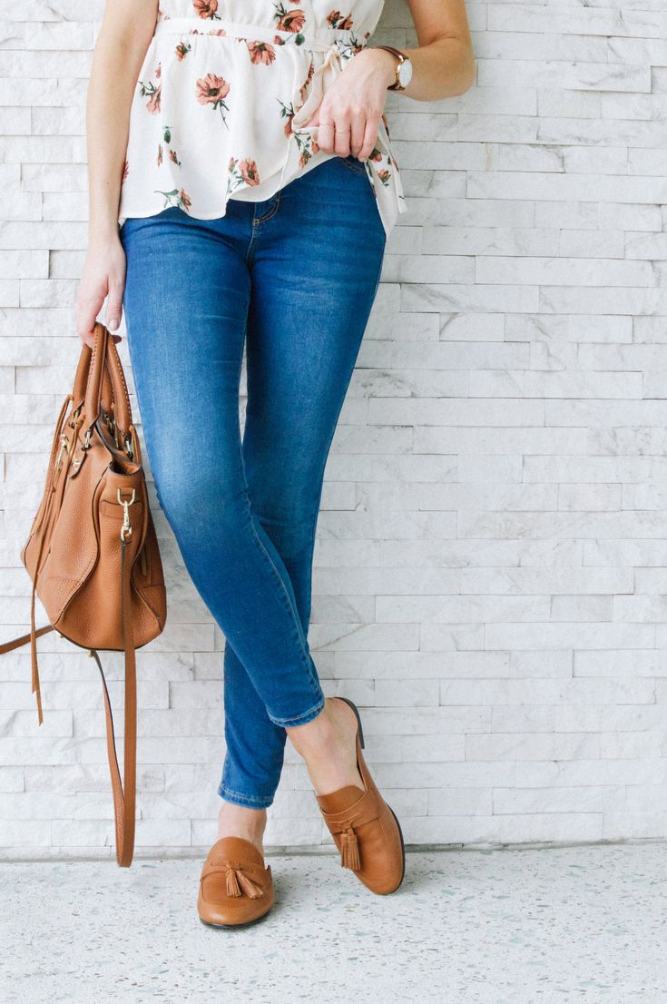 Backless Tassel Loafer. Cognac loafers outfit. Brown leather mules. Floral top and denim outfit. Regan Satchel. Spring style. Spring shoes