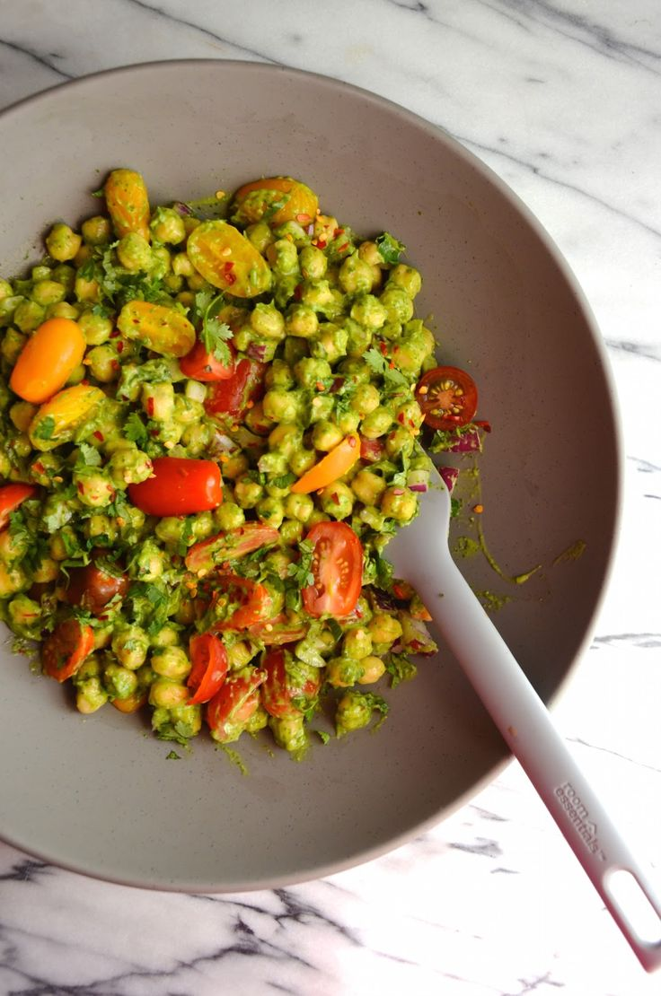 Try this Guacamole Chickpea Salad with Cilantro-Avocado Dressing. It's a perfect vegetarian lunch dish or an easy side to pair with grilled chicken, fish or shrimp. Creamy, spicy, and perfect for the guacamole dip lovers!