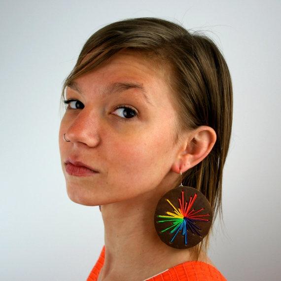 leather rainbow sunburst earrings
