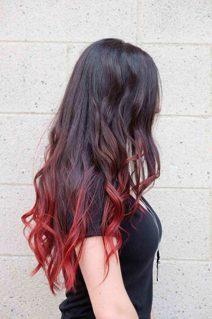 #red #highlights #balyage in 2020 | Black hair dye, Dip dye hair, Hair styles