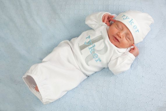 Newborn Baby Boy Monogram Personalized Take Home Hospital Outfit Gown or Bodysuit Personalized Beanie Hat Option Baby Boy Gift Set Clothing
