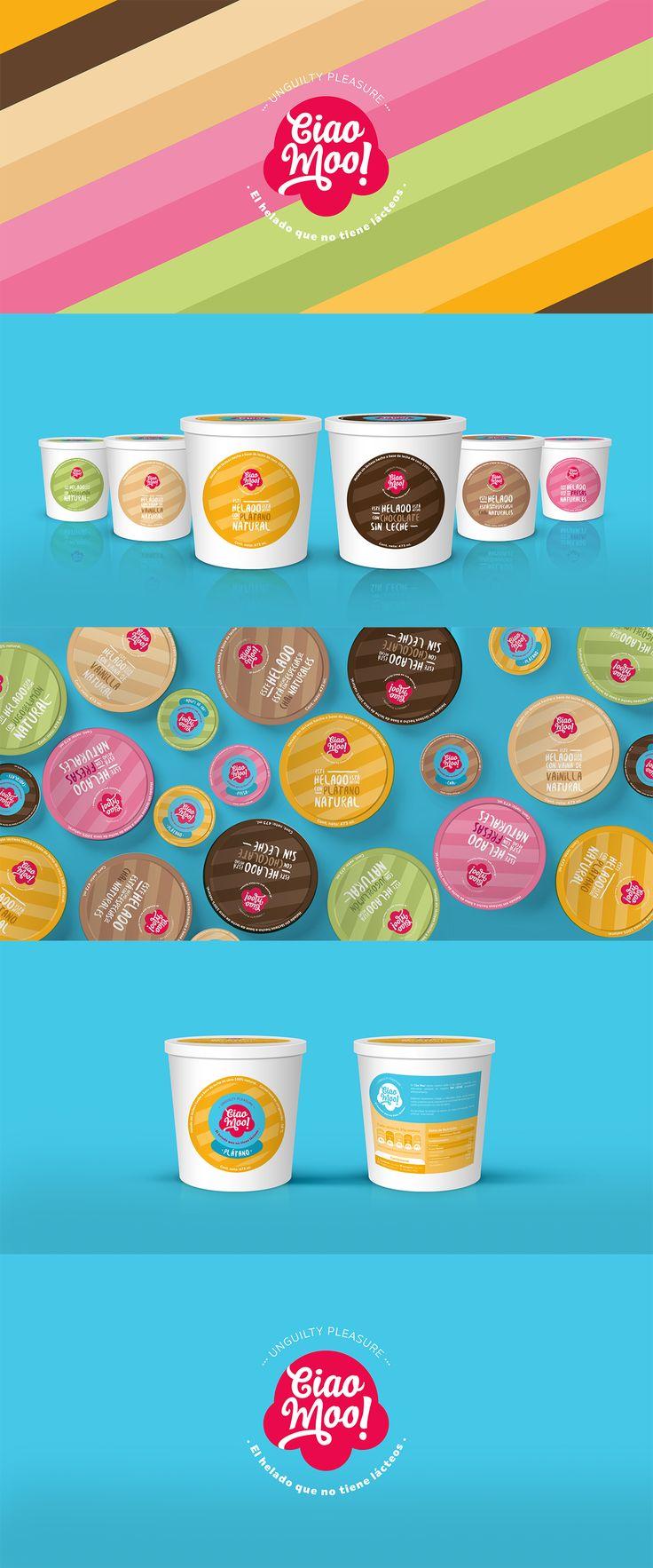 Diseño de identidad y etiquetas para marca de helados sin lácteos, cada sabor tiene una paleta de color llevada al diseño de sus etiquetas.