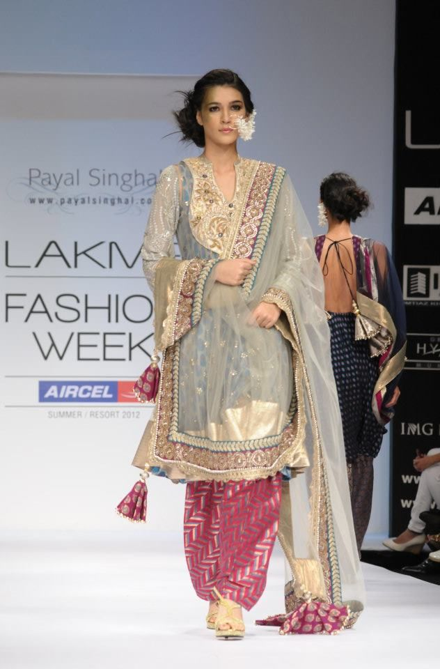 https://www.facebook.com/nikhaarfashions blue and pink designer punjabi suit at lakme fashion week