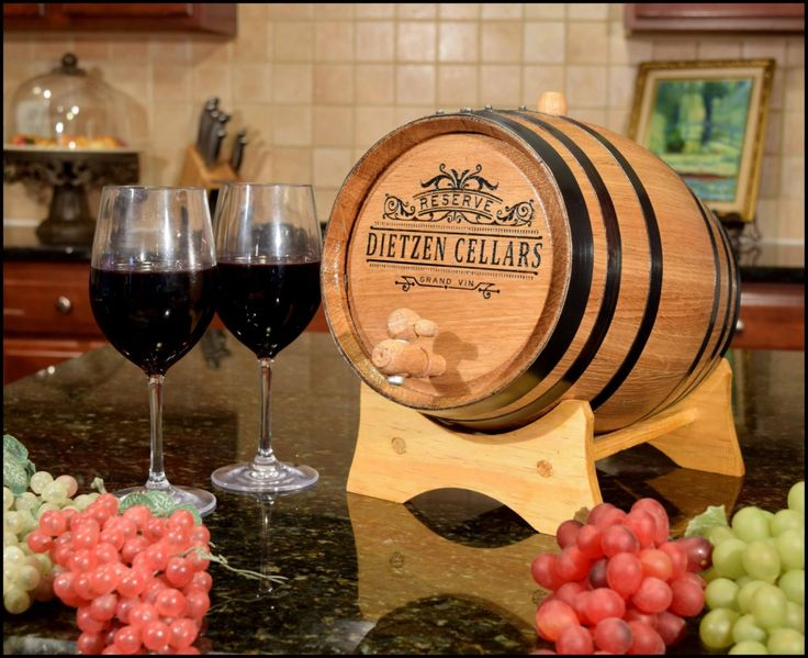 #Custom White Oak Barrel Wine Making Kit - Personalize with your choice of Name for the Home Wine Bar Bistro or #Man Cave Pub wall decor.