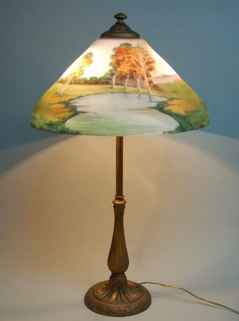 1920s czech reverse painted lamp 795 niles http furnishly com