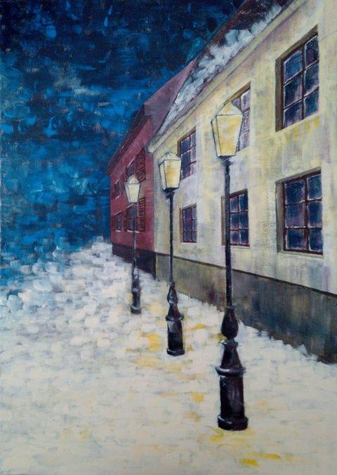 Téli este, Dekoráció, Képzőművészet , Kép, Festmény, Meska