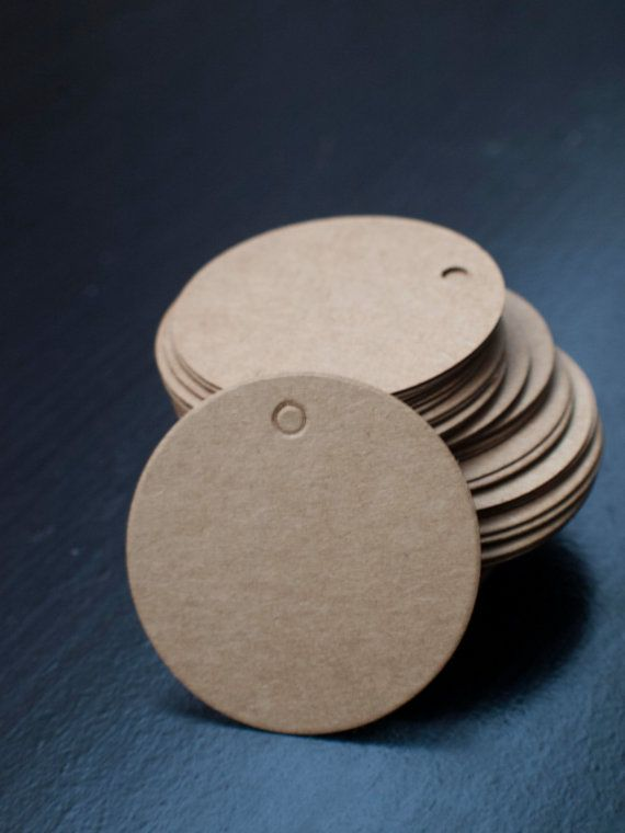 Round circle 5cm brown Kraft Paper Tags with by ctdscraftsupply