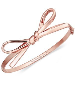 kate spade new york Bracelet, Rose Gold-Tone Skinny Mini Bow Bangle Bracelet @}-,-;--
