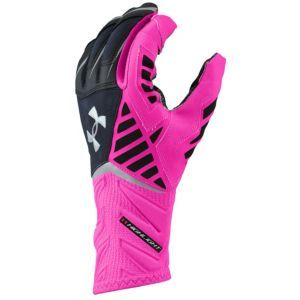 Under Armour Nitro Warp Highlight Football Gloves - Men's - Black/Tropic Pink