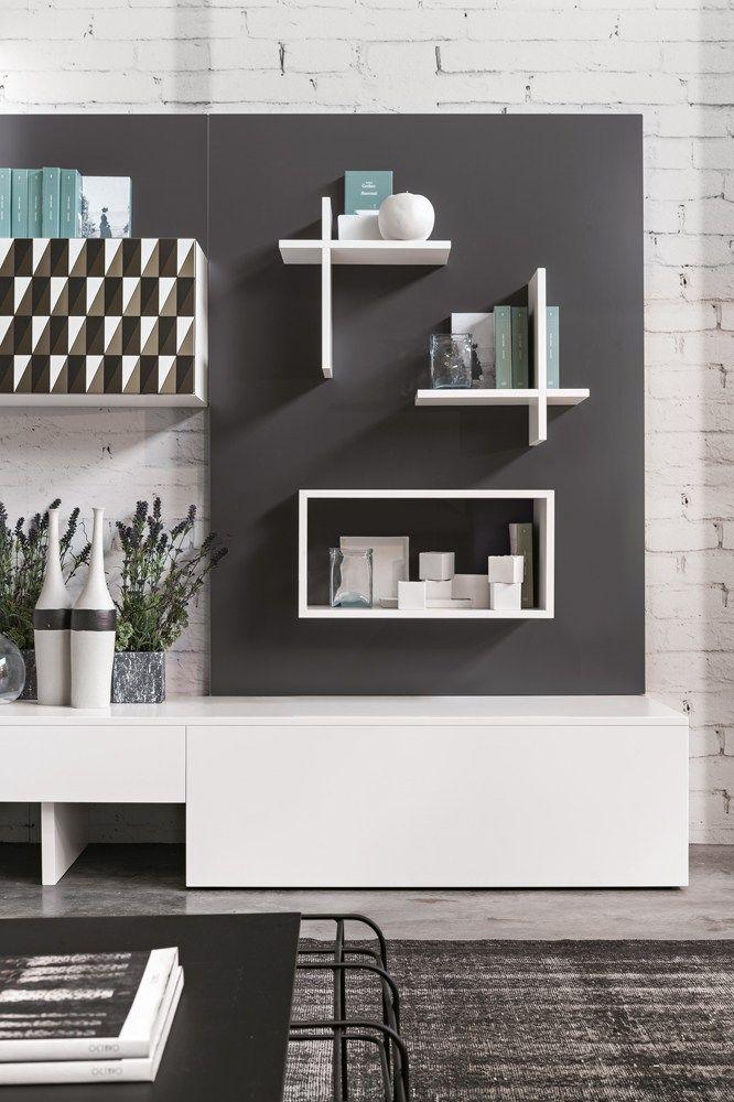 Mueble modular de pared composable de madera de estilo moderno Magnetika living M01 Colección Magnetika living by Ronda Design