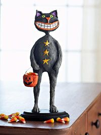 I would love to put this happy cat out for Halloween! - paper mache