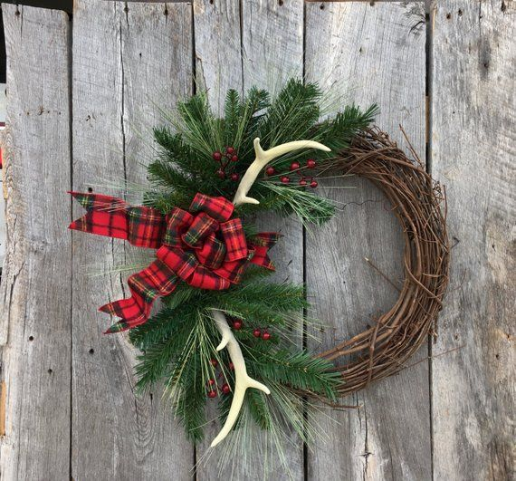 holiday christmas antler wreath - 794×739
