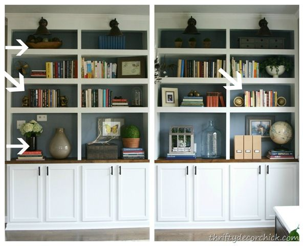 41 best images about bookshelf decor on pinterest for How to decorate bookshelves