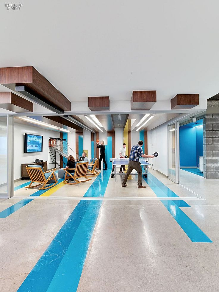 LinkedIn Toronto HQ Office, Canada. Vinyl wraps drywall elements on the ceiling of the lounge. #office large social media company
