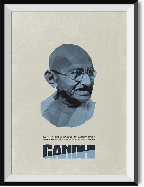 """Gandhi """"Greed"""" quote poster"""