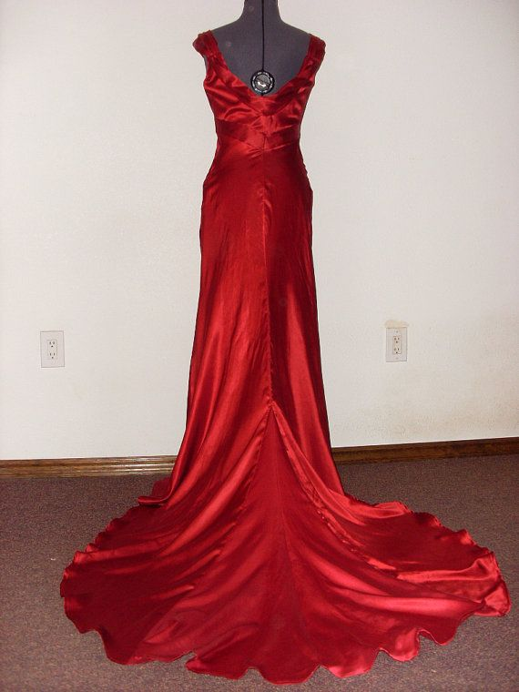 Who says you have to wear white....1930s Wedding Gown Red Wedding Dress 30s wedding gown Eco by p1xie, $550.00