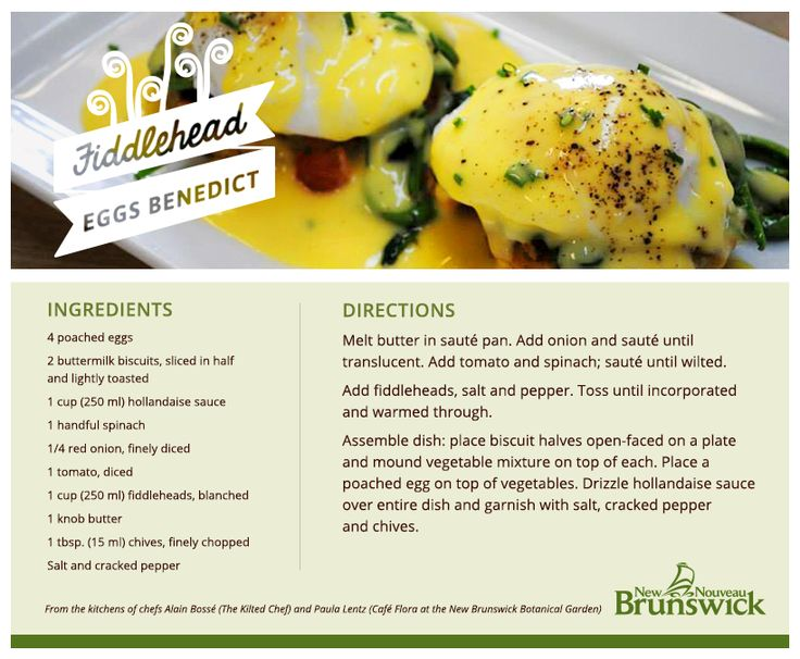 Need an idea for Sunday brunch? This Fiddlehead Eggs Benedict recipe from the New Brunswick Botanical Garden is a real crowd pleaser.  #ExploreNB