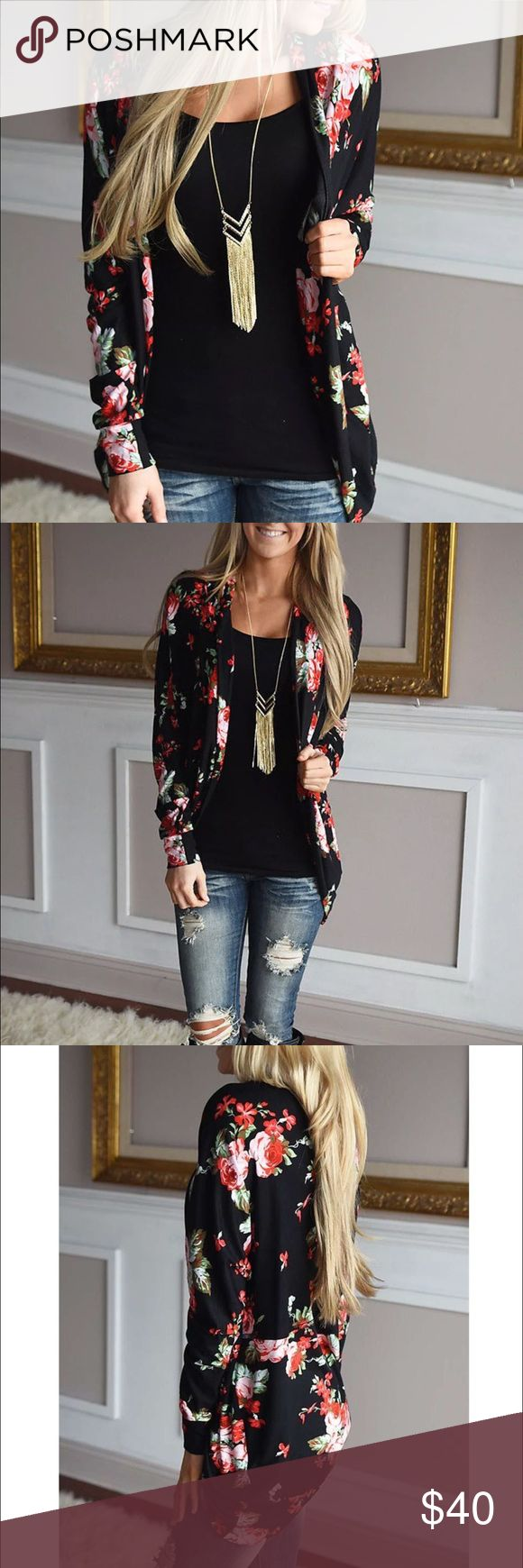 {The Lauren} Holiday Floral Cardigan {The Lauren} Floral Cardigan ❤️ Beautiful festive Black + red floral print. Soft + Cozy Poly blendAvailable sizes: Medium (4-6, will fit most US Smalls & Mediums- listed Small & Medium for search purposes), Large (6-8) and XL (8-10)It is best to size up as these run smaller. Please refer to sizing chart before buyingI am happy to help!   Tops