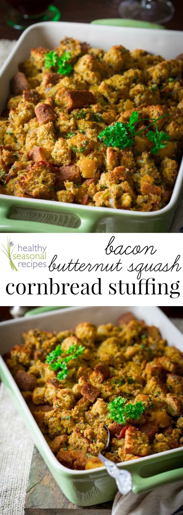 Blog post at Healthy Seasonal Recipes : A healthy gluten-free cornbread stuffing recipe with bacon and butternut squash for Thanksgiving. Seasoned with smoked paprika, sage and a p[..]
