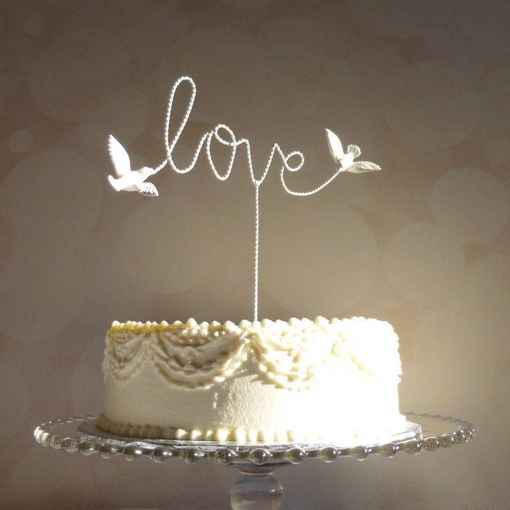 Wire Cake Topper, Love Cake Topper, Wire Love Wedding Cake Topper with Love Birds by WoodenHeartButtons on Etsy https://www.etsy.com/listing/215843880/wire-cake-topper-love-cake-topper-wire