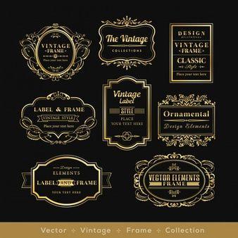 Retro logotipo quadro elementos de design distintivo de ouro vinage