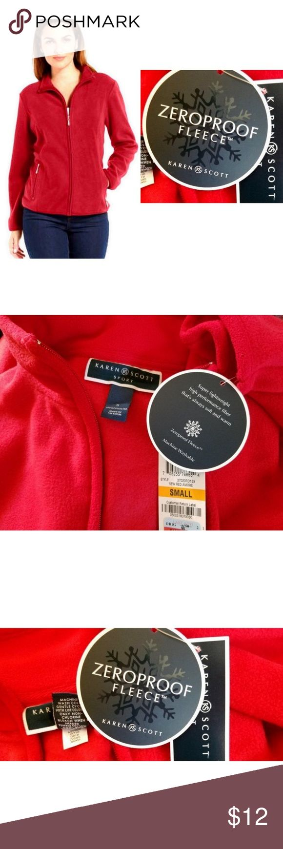 Karen Scott Zip-Front Fleece Active Jacket (Small) New with Tags Size: Small Color: New Red Amore  Made in Vietnam   Kindly SEE PHOTOS for detailed look and more information about the item. Actual color may slightly vary from what are seen in the photos due to lighting and photo editing. Karen Scott Jackets & Coats