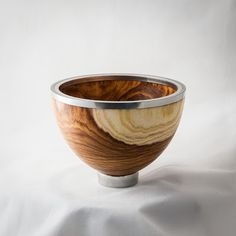 Laburnum and pewter end grain bowl