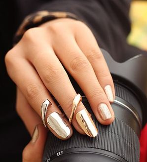Gold Plated Nail Ring