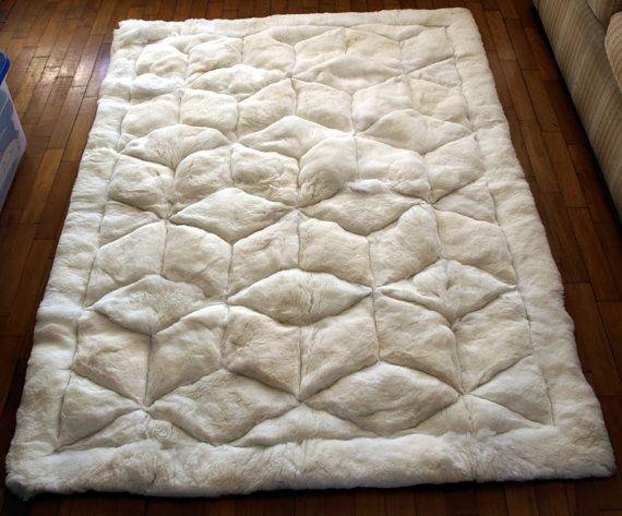 71 X 80 White Alpaca Rug Cube Design Genuine Peruvian Fur 180cm 200cm