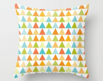 Check out Triangle Pillow, Modern Throw pillow, contemporary pillow, pyramid pillow, shapes pillow, geometry pillow, pattern, Bold, orange, green, art on peppermintcreek