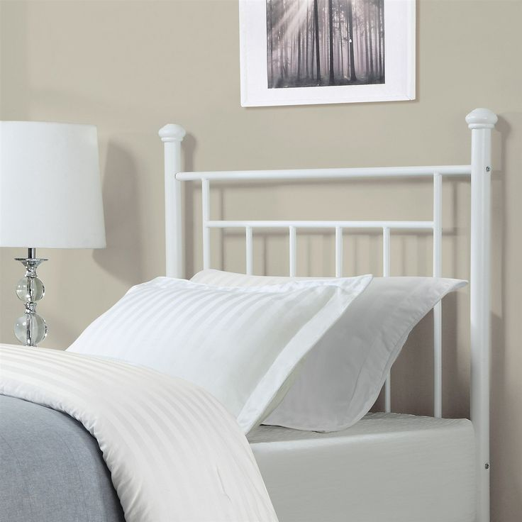 Twin Size White Metal Headboard With Simple Lines & Decorative Finals