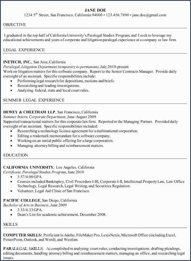 42 Paralegal Resume Student Resume Template Sample Resume