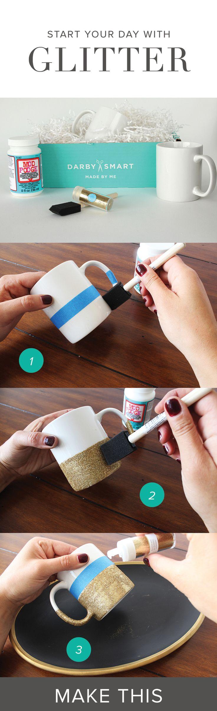 #DIY Glitter Mugs #darbysmart