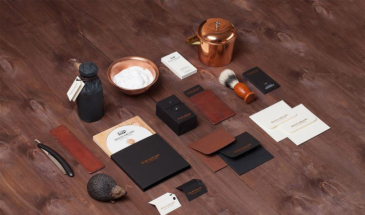 Russian studio Eskimo (previously) created this brand identity and collateral for Shave & Blade, a new gentlemen