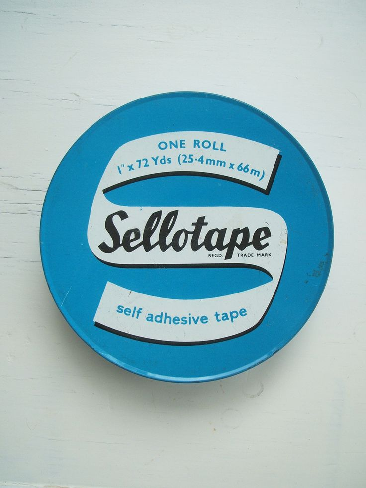 Vintage Love: mid century enamel Sellotape tin 1950s. http://www.meyouandmagoo.co.uk/2015/10/vintage-love-mid-century-enamel.html The typography and fonts have a real retro feel to them. I'm not sure if it is from the mid-century or a slightly later 1970s-1980s piece.