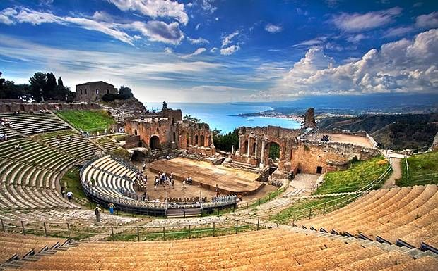 I've been here! A beautiful place. This old amphitheatre is stunning - Taormina, Sicily: ancient ruins, Mt. Etna.