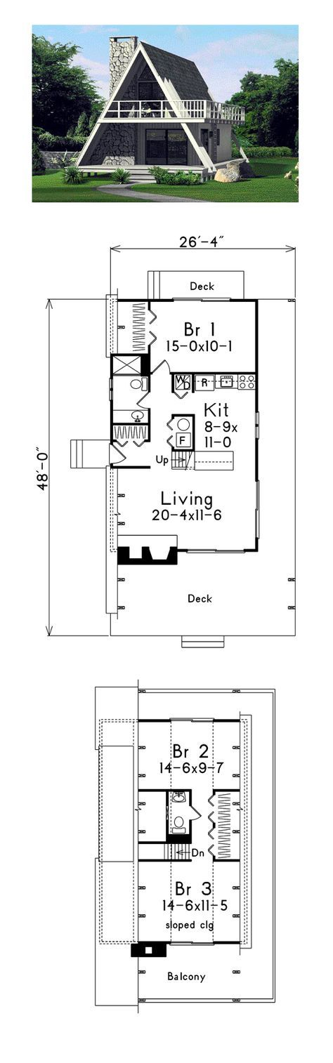 A-Frame House Plan 86950   Total Living Area: 1272 sq. ft., 3 bedrooms and 1.5 bathrooms. #houseplan #aframe