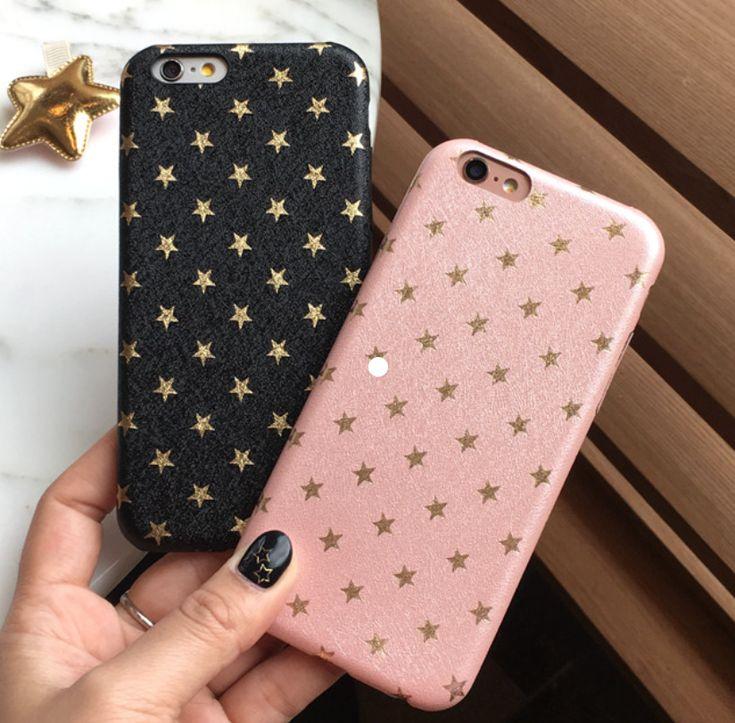 Fundas para celular con estrellas. negra con dorado y rosa con dorado. Glitter. #AppleIphone6