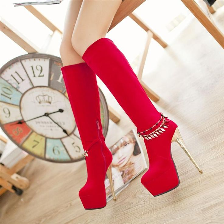Winter Round Toe Zipper Design Stiletto High Heels Red Suede Mid Calf Sequined Cavalier Boots