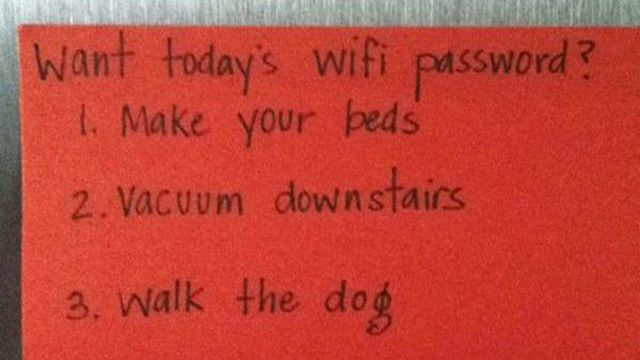 Best Parenting Trick Ever! - I wonder if it works on husbands too...: Parents Tips, Funny Stuff, Evil Parents, Wifi Password, Great Ideas, Today Wifi, Ruler, Kid, Parents Tricks