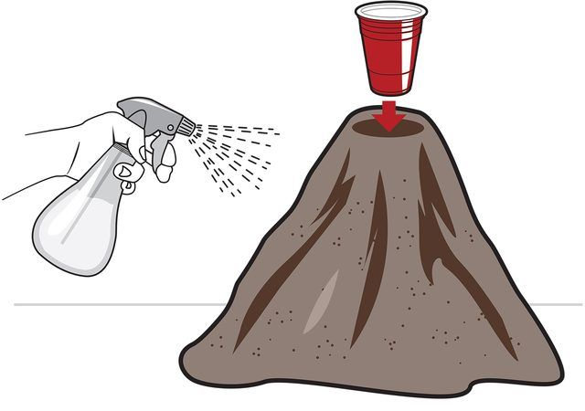 Volcano out of a cup and wet sand