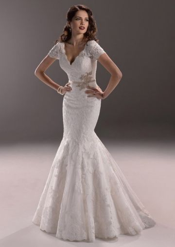 Unique Trumpet/ Mermaid V-neck with Short Sleeves Lace Wedding Dress