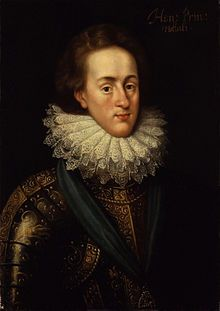 Henry Frederick, Prince of Wales-- (1594-6-1612) was the elder son of King James I & VI and Anne of Denmark. His name derives from his grandfathers: Henry Stuart, Lord Darnley, and Frederick II of Denmark. Prince Henry was widely seen as a bright and promising heir to his father's thrones. However, at the age of 18, he predeceased his father when he died of typhoid fever. His younger brother Charles succeeded him as heir apparent to the English, Irish and Scottish thrones.